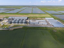 Plant for the drying and storage of grain. Top view. Grain terminal. Stock Image