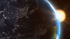 Plant Earth United States Sunrise From Space. Planet Earth United States Sunrise from Space showing the lights at night in North America as the daylight line Royalty Free Stock Photos