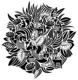 Plant en dierlijk patroon royalty-vrije illustratie