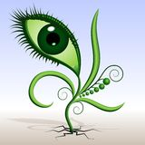 Plant-eye. Vector illustration of green plants sprouted. Abstraction - a flower in the shape of the eye with leaves and tendrils. The grotesque mimicry Royalty Free Stock Photography