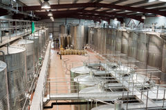 Plant facilities with wine cisterns under temperature control Royalty Free Stock Photos