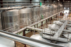 Plant facilities with wine cisterns under temperature control Stock Photos