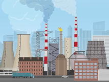 Plant factory on the city background. Industrial factory landscape. Pollution concept. Stock Photography