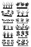 Plant fields set. Plant fields  set in black Stock Images