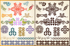 Plant flower set style pattern silhouette element Stock Photos