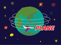 Plant flyga runt om världen - Arkivfoto