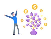 Plant with Foliage, Money Tree with Leaves Coins vector illustration