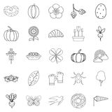 Plant food icons set, outline style. Plant food icons set. Outline set of 25 plant food vector icons for web isolated on white background Stock Photography
