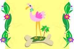 Plant Frame with Pink Flamingo Royalty Free Stock Photos