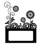 Plant framework. Black and white  framework for the text with colours and butterflies Royalty Free Stock Photo