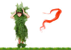 Plant girl on grass Stock Photo