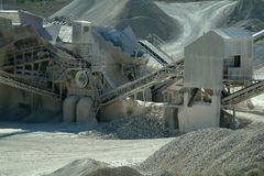 Plant of gravel. Industry of the gravel quarry Stock Photos