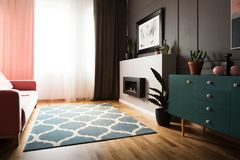 Plant on green cabinet in bright living room interior with fireplace and patterned carpet. Real photo. Concept stock photo