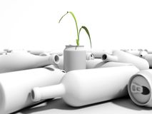 Plant growing in a can in a dump. 3D environment in a white background Royalty Free Stock Images