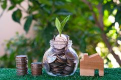 Plant growing from coins in glass jar. Wooden house model on artificial grass. Home mortgage and property investment concept. Copy space insurance door real stock image