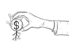 Plant growing from coins in a hand. A businessman can make money grow Royalty Free Stock Photo