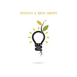 Plant growing inside the light bulb logo Royalty Free Stock Images