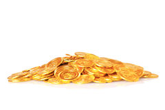 Plant growing out of gold coins isolated on white Royalty Free Stock Photos