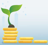 Plant growth on coins graph, startup business concept vector illustration Royalty Free Stock Photography