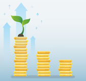 Plant growth on coins graph, startup business concept vector illustration Royalty Free Stock Photo