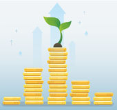 Plant growth on coins graph, startup business concept vector illustration Royalty Free Stock Images