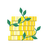 Plant Growth from Money Coin Stack  Stock Photo