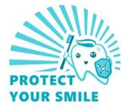 Plant gulligt tandtecken som flossing och att borsta och att skölja, uppsättning för illustration för kariesskyddsvektor Tand- sj Royaltyfri Fotografi