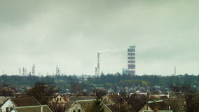 The plant, heavy industry, the smoke from pipes stock footage