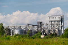 The plant of household chemicals with the metal tanks and pipes surrounded by forest Stock Photography