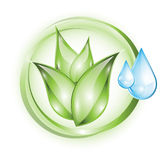 Plant icon with drops Stock Image