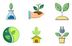 Plant icon set, cartoon style. Plant icon set. Cartoon set of plant vector icons for web design isolated on white background Royalty Free Stock Photography