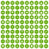 100 plant icons hexagon green. 100 plant icons set in green hexagon isolated vector illustration Stock Photos