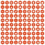 100 plant icons hexagon orange Stock Photos