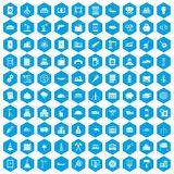 100 plant icons set blue. 100 plant icons set in blue hexagon isolated vector illustration Royalty Free Stock Photos