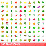 100 plant icons set, cartoon style. 100 plant icons set in cartoon style for any design vector illustration Royalty Free Stock Images