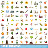 100 plant icons set, cartoon style. 100 plant icons set in cartoon style for any design vector illustration Royalty Free Stock Photography