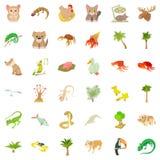 Plant icons set, cartoon style Royalty Free Stock Images