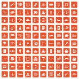 100 plant icons set grunge orange. 100 plant icons set in grunge style orange color isolated on white background vector illustration vector illustration