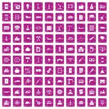 100 plant icons set grunge pink. 100 plant icons set in grunge style pink color isolated on white background vector illustration royalty free illustration