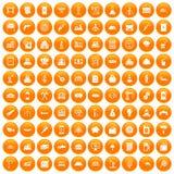 100 plant icons set orange. 100 plant icons set in orange circle isolated on white vector illustration stock illustration