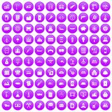 100 plant icons set purple. 100 plant icons set in purple circle isolated on white vector illustration Royalty Free Illustration
