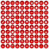 100 plant icons set red. 100 plant icons set in red circle isolated on white vector illustration Royalty Free Stock Photography