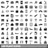 100 plant icons set, simple style Stock Photos