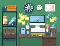 Plant illustrationbegrepp av kontorsworkspace Arkivbilder