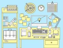 Plant illustrationbegrepp av kontorsworkspace Fotografering för Bildbyråer
