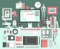 Plant illustrationbegrepp för modern design av idérik kontorsworkspace Arkivbilder