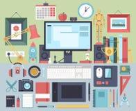 Plant illustrationbegrepp för modern design av idérik kontorsworkspace Arkivbild