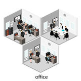 Plant isometriskt abstrakt för golvinre för kontor 3d begrepp för avdelningar Arkivbild