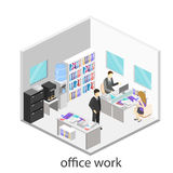 Plant isometriskt abstrakt för golvinre för kontor 3d begrepp för avdelningar white för kontor för livstid för bild för bakgrund  Arkivbilder