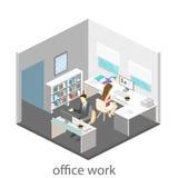 Plant isometriskt abstrakt för golvinre för kontor 3d begrepp för avdelningar white för kontor för livstid för bild för bakgrund  Fotografering för Bildbyråer
